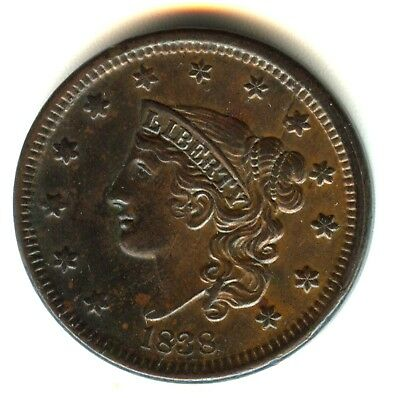 1838 Coronet Large Cent 100% Orig MS Brown No Enhancements