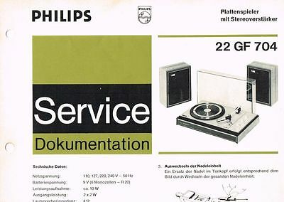 Philips Plattenspieler 22 GF704 Schaltplan Manual 1971 Original