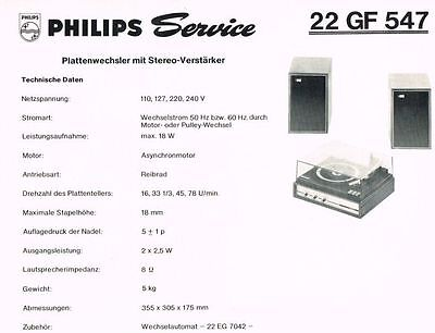 Philips Plattenspieler 22 GF547 Schaltplan Manual 1970 Original