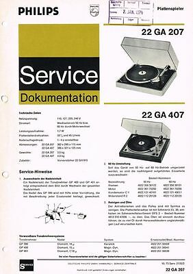 Philips Plattenspieler 22 GA207 22 GA407 Schaltplan Manual ca. 1973 Original