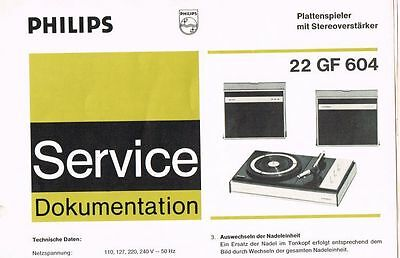 Philips Plattenspieler 22 GF604 Schaltplan Manual 1970 Original