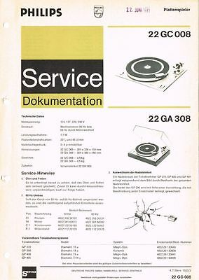Philips Plattenspieler 22 GC008 22 GA308 Schaltplan Manual ca. 1971 Original