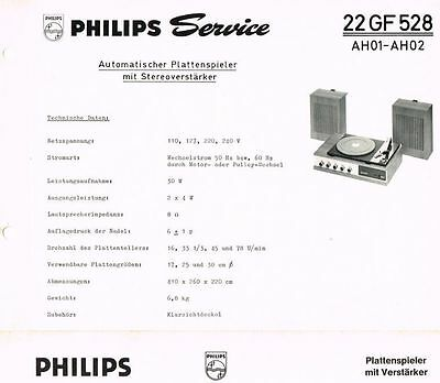 Philips Plattenspieler 22 GF528 Schaltplan Manual 1969 Original