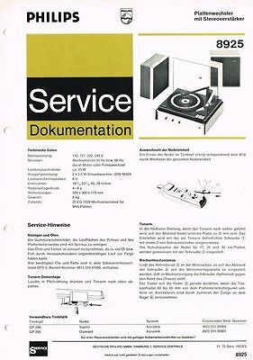 Philips Plattenspieler 8925 Schaltplan Manual 1972 Original