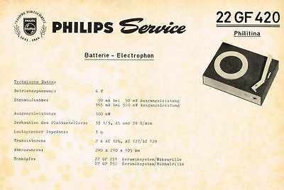 Philips Plattenspieler Philitina 22 GF420 Schaltplan Manual 1966  Original