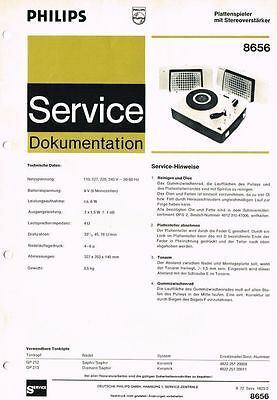 Philips Plattenspieler 8656 Schaltplan Manual 1972 Original