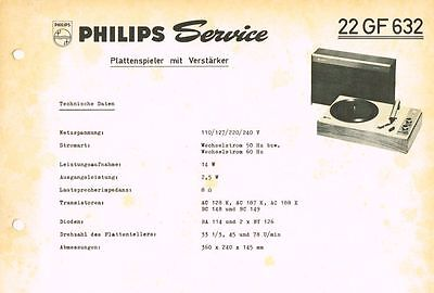 Philips Plattenspieler 22 GF632 Schaltplan Manual 1967 Original