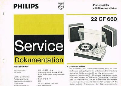 Philips Plattenspieler 22 GF660 Schaltplan Manual 1973 Original