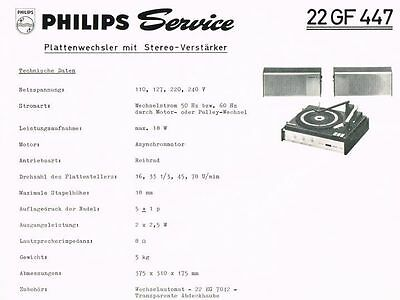 Philips Plattenspieler 22 GF447 Schaltplan Manual 1969 Original