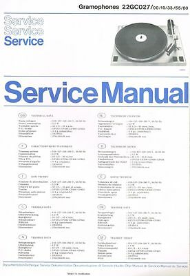 Philips Plattenspieler 22 GC027 Schaltplan Manual ca. 1974 Original