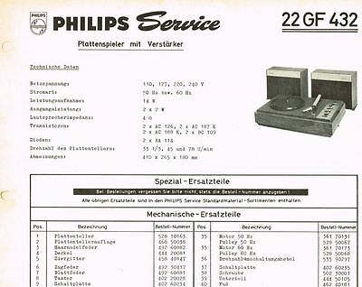Philips Plattenspieler 22 GF432 Schaltplan Manual 1967 Original
