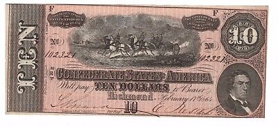 Confederate 1864 T-68 $10 Note, PF-31, CR-549 CU, Reddish Pink Color-Crisp Paper