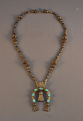 Old Vintage Navajo Indian Necklace - Cast Silver Naja Pendant With 7 Turquoise