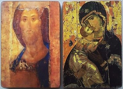 Russian Orthodox Icons. Theotokos of Vladimir and Christ from Andrei Rublev. Set