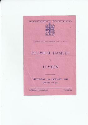 Dulwich Hamlet v Leyton London Amateur Senior Cup Football Programme 1948/49