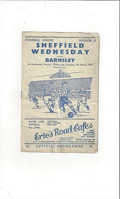 Sheffield Wednesday v Barnsley 1948/49 Football Programme