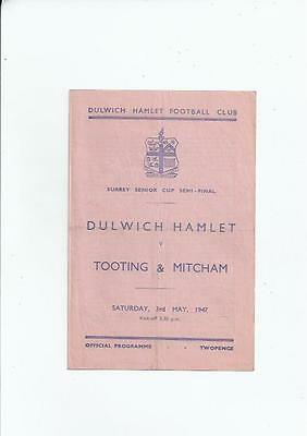 Dulwich Hamlet v Tooting & Mitcham Surrey Senior Cup Semi Final 1946/47