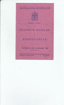 Dulwich Hamlet v Kingstonian Football Programme 1947/48