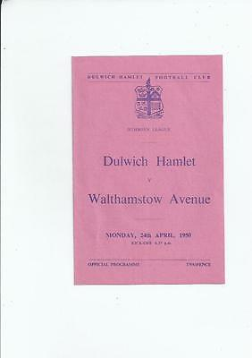 Dulwich Hamlet v Walthamstow Avenue Isthmian League Football Programme 1949/50