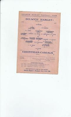Dulwich Hamlet v Corinthian Casuals Football Programme 1945/46 April