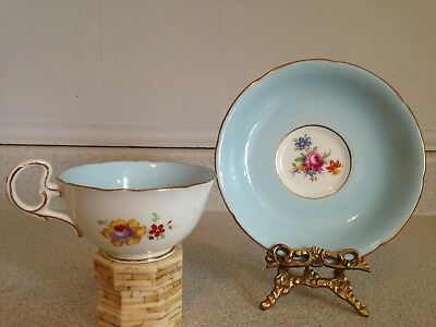 Vintage Grafton Pretty Pale Blue Fine English China Tea Cup And Saucer