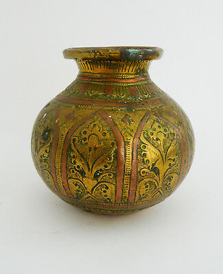 Antique South Indian Gangajumna copper & brass Lota, 18th/19th century, Tanjore.