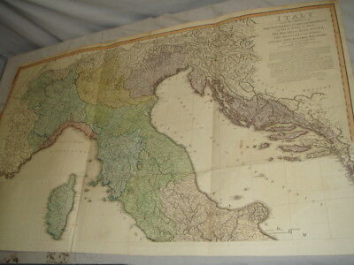 Original 1802 Will Faden Italy w/ Southern Parts of Germany Map
