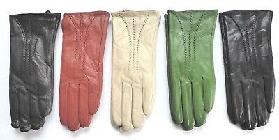 ladies womens leather winter driving gloves with stitch detail