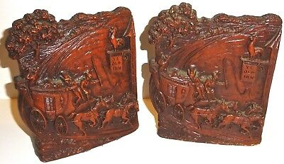"PAIR of TWO (2) ""YE OLD INN"" SYROCO WOOD Vintage BOOK ENDS w/STAGE COACH! NR!"