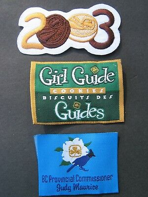 Girl Guides Canada 3 Patches Cookies 2003 Provincial Commissioner Brownies