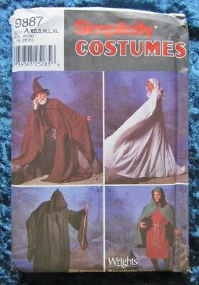 Uncut Wizard or Witch Cape Tunic & Hat Pattern Size XS to XL Dated 2001