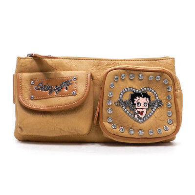 Betty Boop Tan Camel Leather Fanny Pack Hip Purse