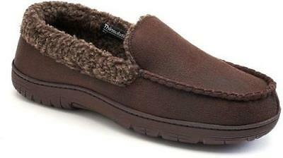 Men's HEAT KEEP Brown Faux Suede Moccasins Casual House Slippers Shoes NEW