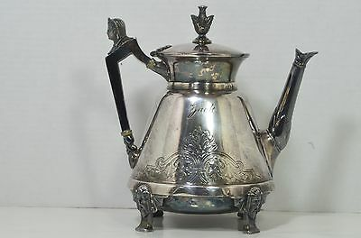 RARE Simpson Hall Miller Antique Egyptian Revival Silver-plate Tea Pot