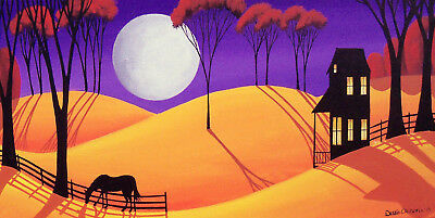 ORIGINAL painting folk art whimsical landscape modern moon horse shadow house