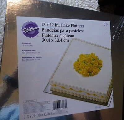 """Package of 5 Wilton 12 x 12"""" Cake Platters for 10"""" cakes New/Sealed"""