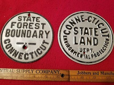 vintage connecticut forest boundary signs