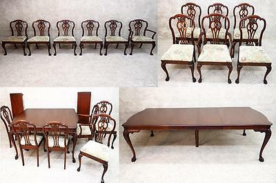 Stunning Antique Chippendale Dining Room Set Suite Mahogany Table & 6 Chairs