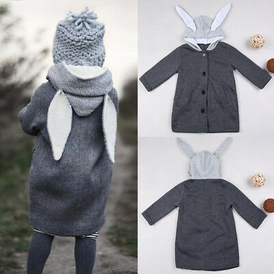 Cute Baby Kid Girl Autumn Winter Hooded Coat Rabbit Jacket Warm Thick Outerwear