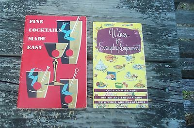 Lot of 2 wine liquor advertising pamphlets Mixology recipes drink Taylor 40s-50s