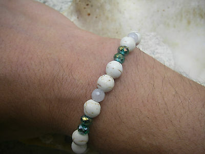 stretch bracelet perle blanche agate white faceted green glass beads men wmn