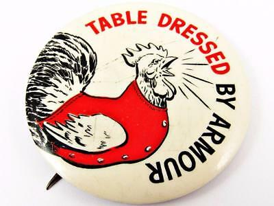 """Vintage Armour's Table Dressed Poultry Celluloid Advertising 2"""" Pin Button"""