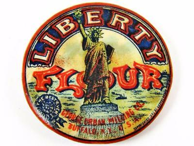 Antique Liberty Flour George Urban Milling Co. Celluloid Advertising Pin Button