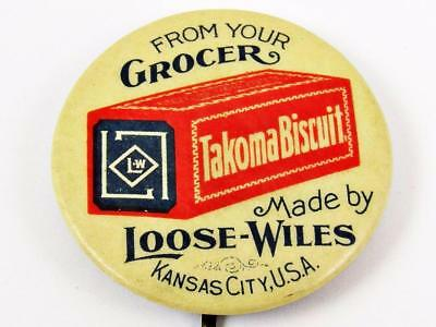 """Antique Takoma Biscuit Loose-Wiles Celluloid Advertising 1 & 1/4"""" Pin Button"""