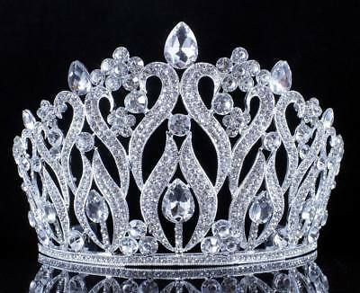 Tulip Clear Austrian Crystal Rhinestone Tiara Crown Hair Combs Bridal Prom T2157