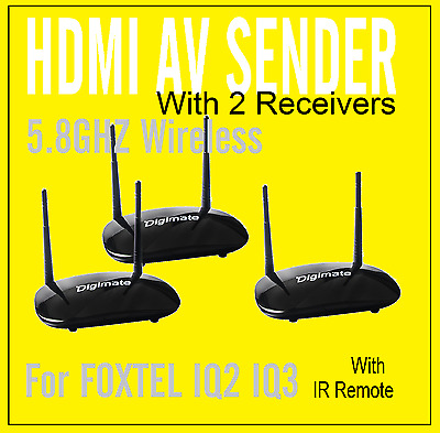 New_ 5.8GHz HDMI AV Sender TV Foxtel IQ2 IQ3 Wireless Transmitter + 2 Receivers
