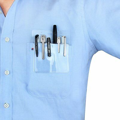 Wisdompro 5 Pack Clear Heavy Duty Pocket Protector Badge Pen Holder / Nametag
