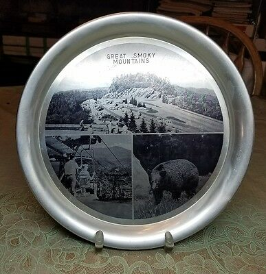 """1950's Advertising Souvenir 11"""" Picture Tray Great Smoky Mountains Loopover lift"""