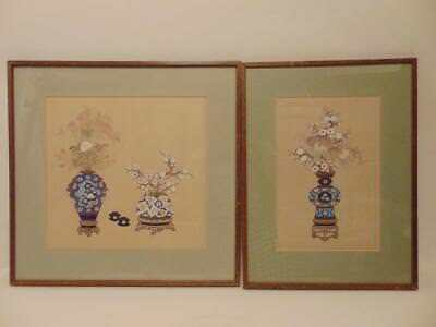 Two Antique Chinese Paintings of Vases & Flowers on Silk, Framed, 19th C