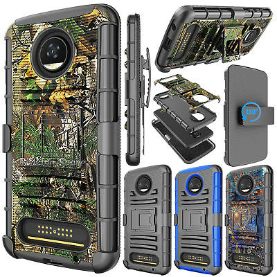 For Motorola Moto Z2 Play Droid Stand Case W/Belt Clip Holster Hybrid Hard Cover